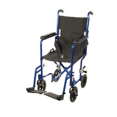 Lightweight Transport Wheelchair in Blue with 17 in. Seat