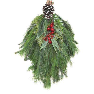 fresh mixed christmas frost evergreen swag - Fresh Christmas Greenery