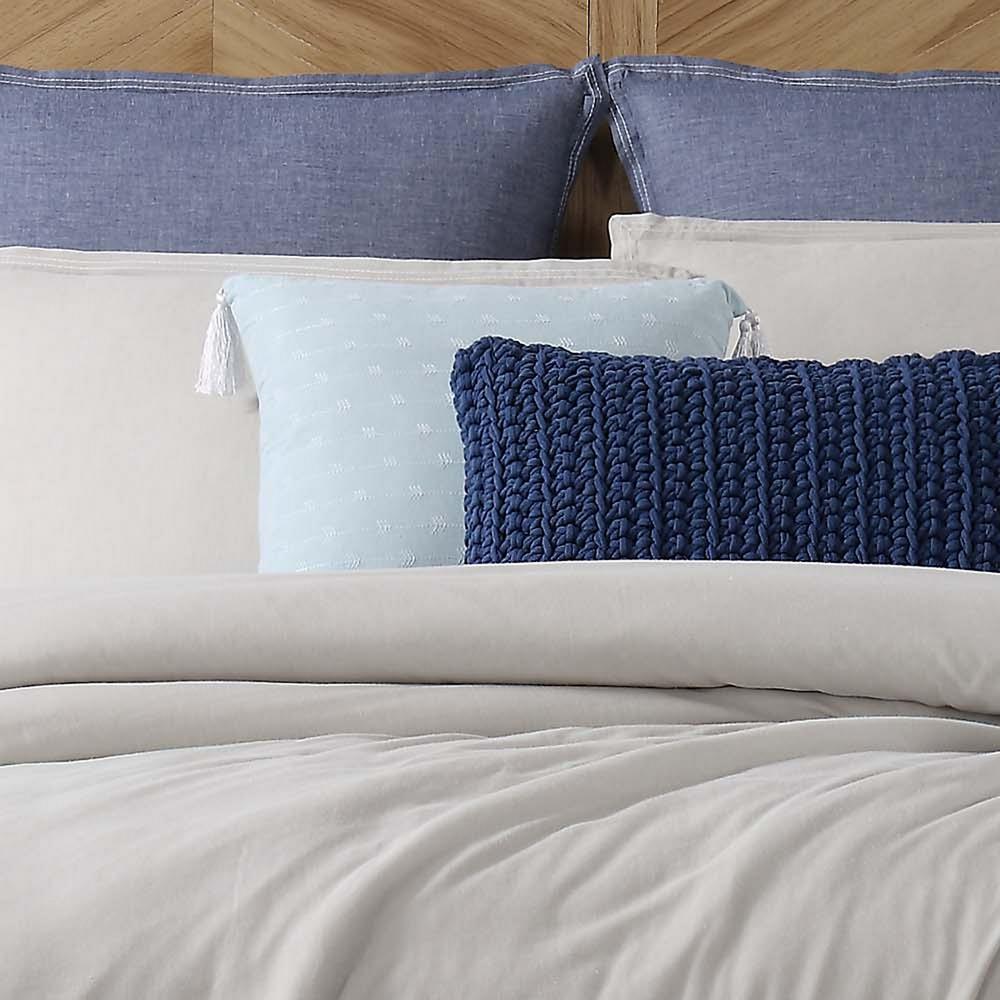Chambray Loft Aqua Square Pillow