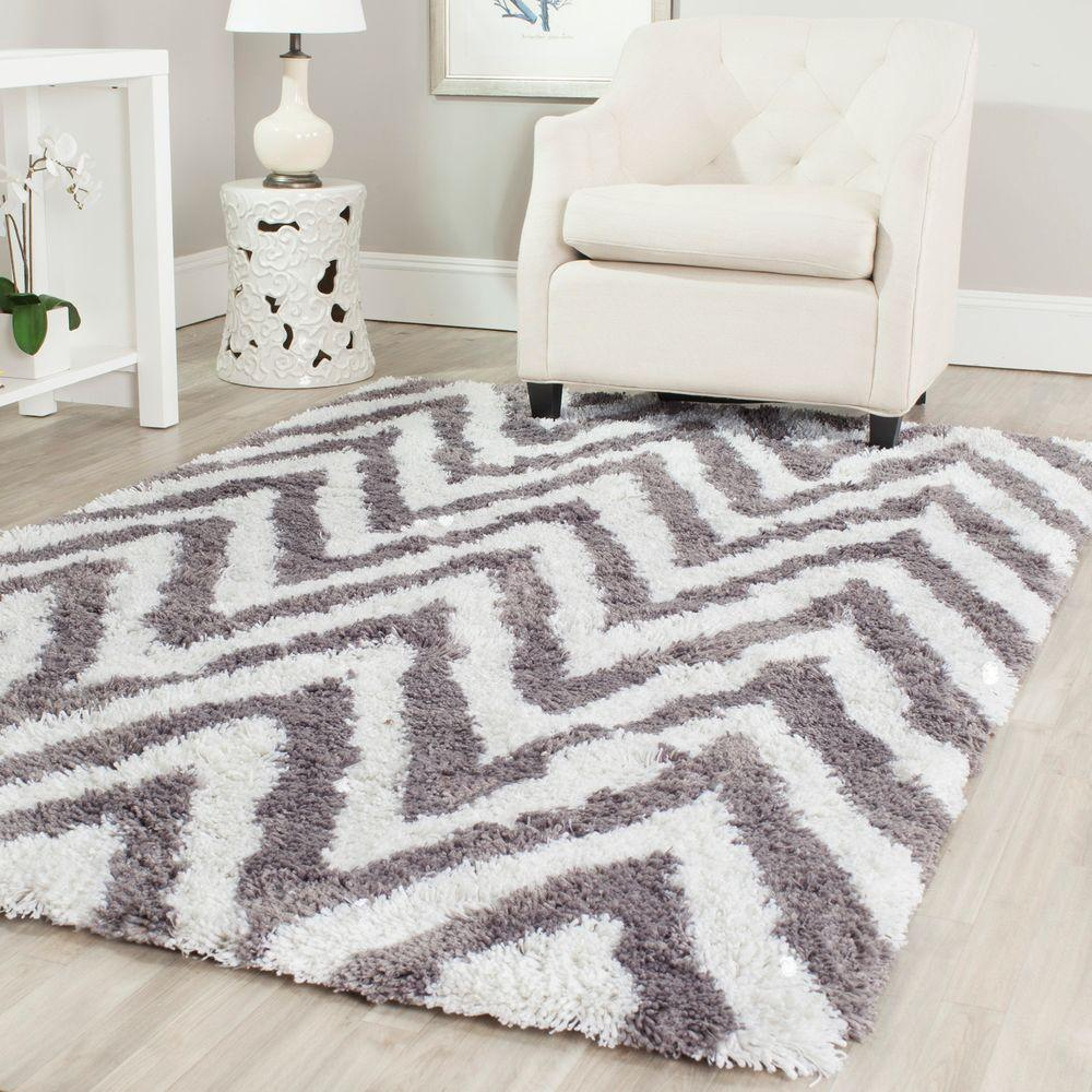 Safavieh Chevron Shag Ivory Gray 9 Ft X 12 Area Rug