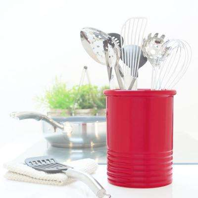 Medium True Red Ceramic Utensil Crock