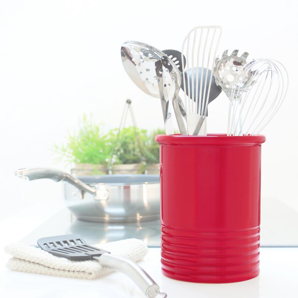 Chantal Medium True Red Ceramic Utensil Crock