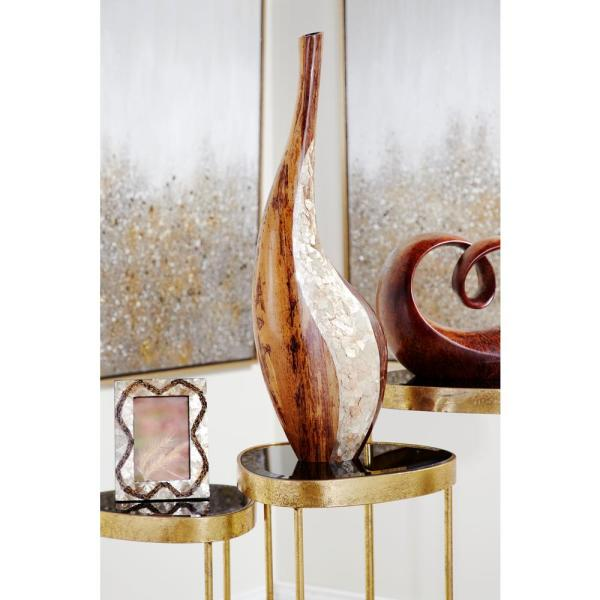27 in. Gold Capiz Shell and Natural Banana Wood Bud Decorative Vase with Extra Long Neck