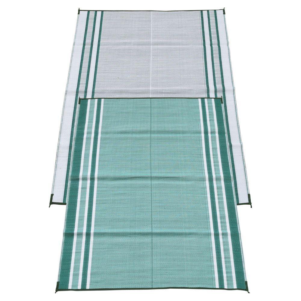 Mossy Teal Green 6 ft. x 9 ft. Polypropylene Indoor/Outdoor Reversible Patio/RV Mat