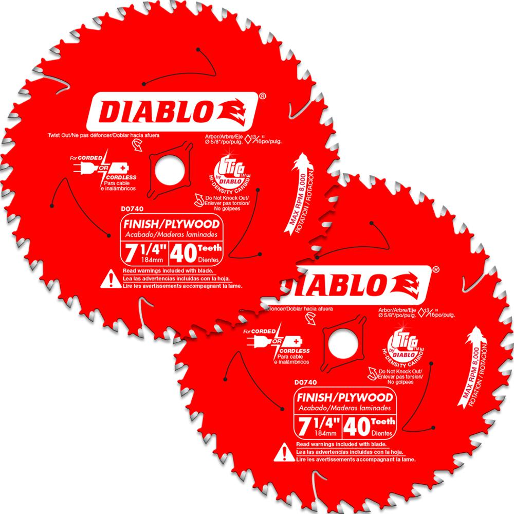 DIABLO 7-1/4 in. 40-Tooth Finish Circular Saw Blade Value Pack (2-Pack)