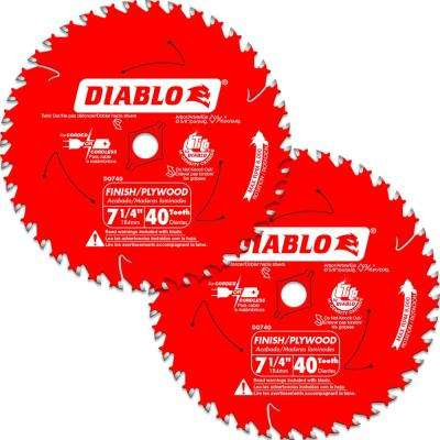 7-1/4 in. 40-Tooth Finish Circular Saw Blade Value Pack (2-Pack)