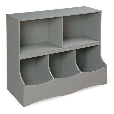 Multi-Bin 37 in. x 32 in. Gray 5-Cube Organizer