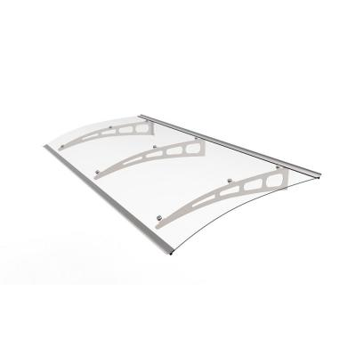 PA Series Solid Polycarbonate Aluminum Door & Window Awning (94 in. W x 35.4 in. D) in SIlver Aluminum Bracket