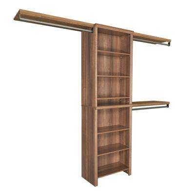 Impressions 5 ft. - 10 ft. 14.57 in. D x 120 in. W x 83 in. H Walnut Basic Laminate Closet System