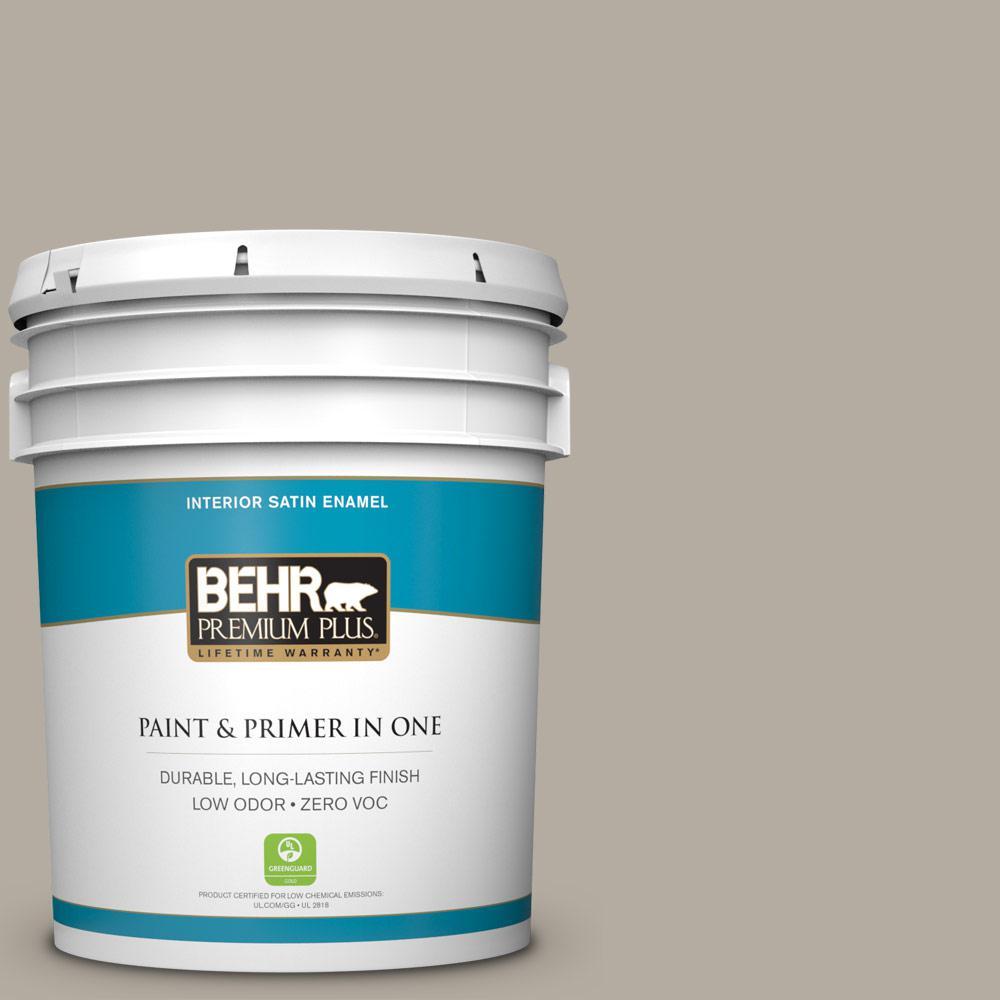 5 gal. #PPU18-13 Perfect Taupe Zero VOC Satin Enamel Interior Paint