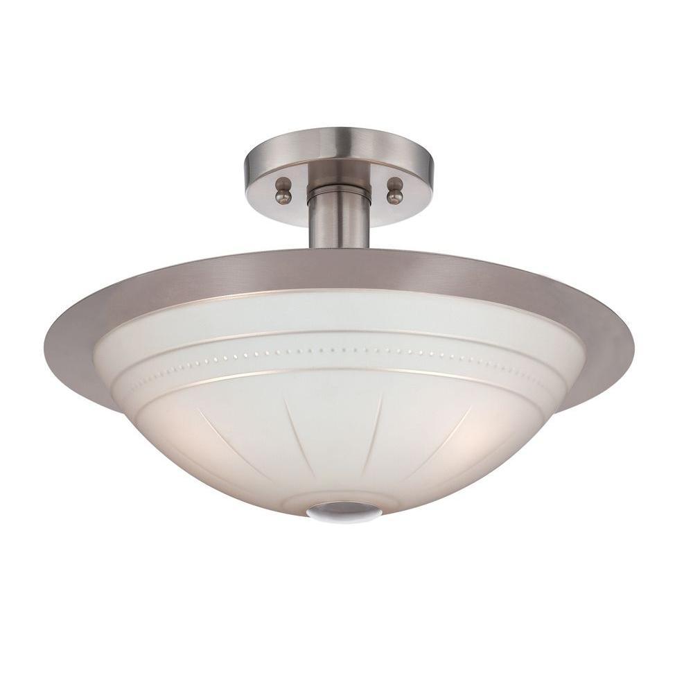 8 in. 3-Light Steel Semi-Flush Mount Light with Frost Glass