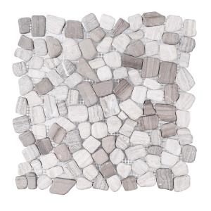 Bailey Grey Pebble 12 in. x 12 in. Honed Grey Limestone Wall and Floor Mosaic Tile (1 sq. ft./Each)