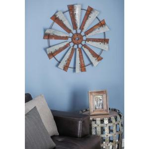 30 inch Rustic Brown Wheel-Shaped Iron Wall Decor by
