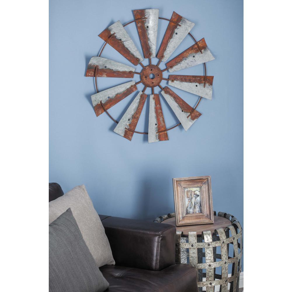 30 in. Rustic Brown Wheel-Shaped Iron Wall Decor