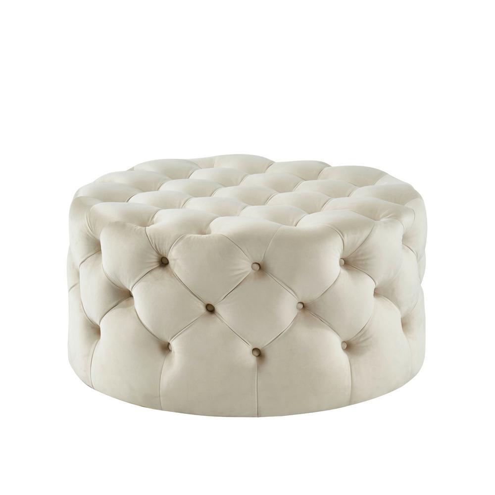 Moore Beige Round Button Tufted Ottoman