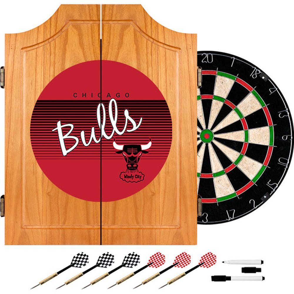 Trademark 20.5 in. Chicago Bulls Hardwood Classics NBA Wood Dart Cabinet Set