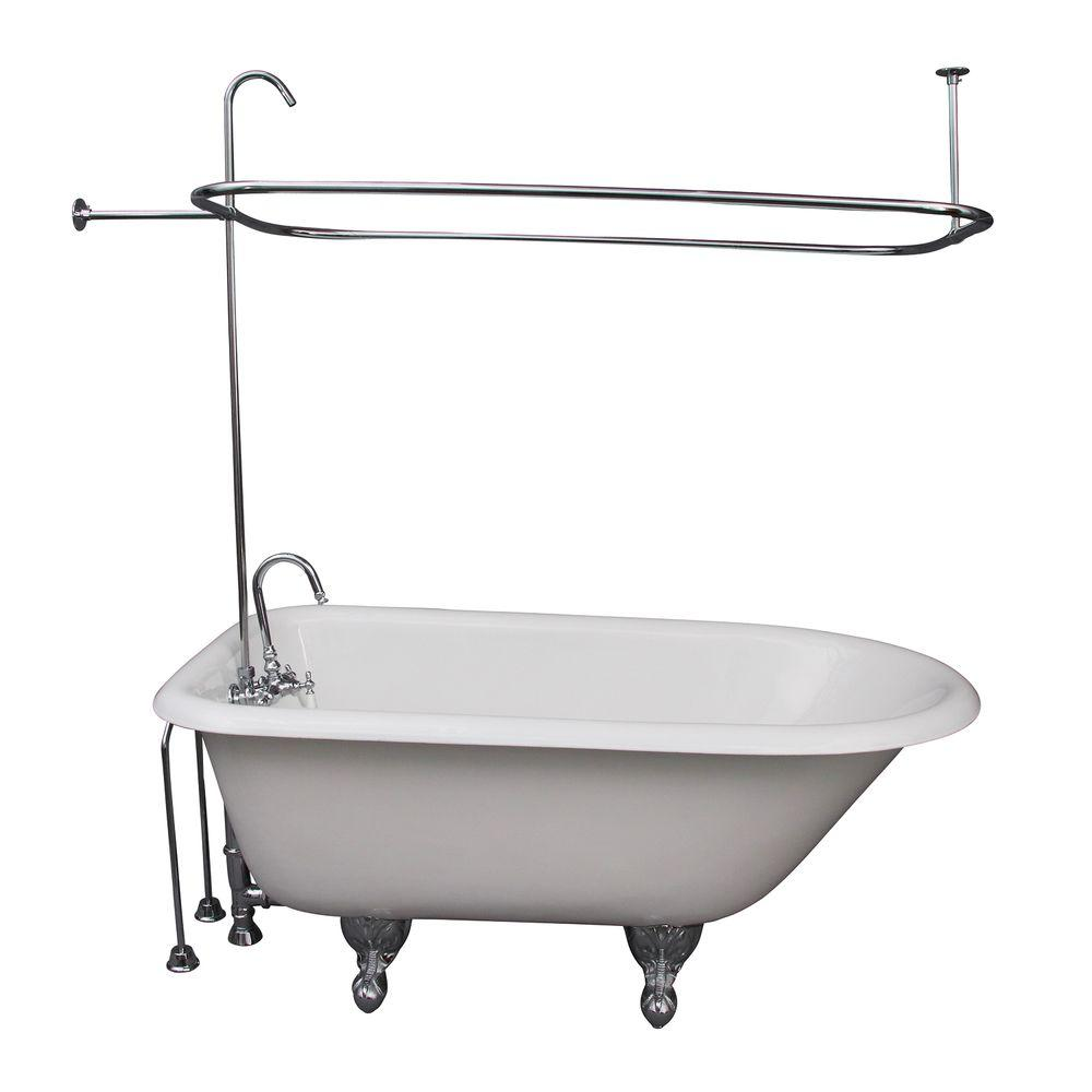 Barclay Products 4.5 ft. Cast Iron Ball and Claw Feet Roll Top Tub in White with Polished Chrome Accessories