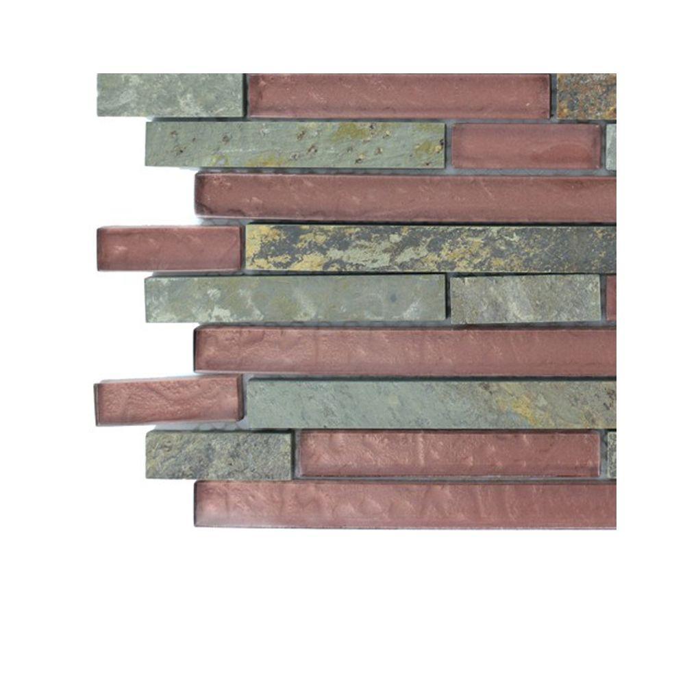 Splashback Tile Geo Harmony Slate Rust Glass Tile Sample