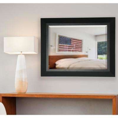 29.5 in. x 35.5 in. Attractive Matte Black Rounded Beveled Pub Wall Mirror