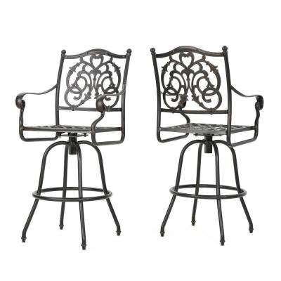 Casselberry Swivel Aluminum Outdoor Bar Stool (2-Pack)