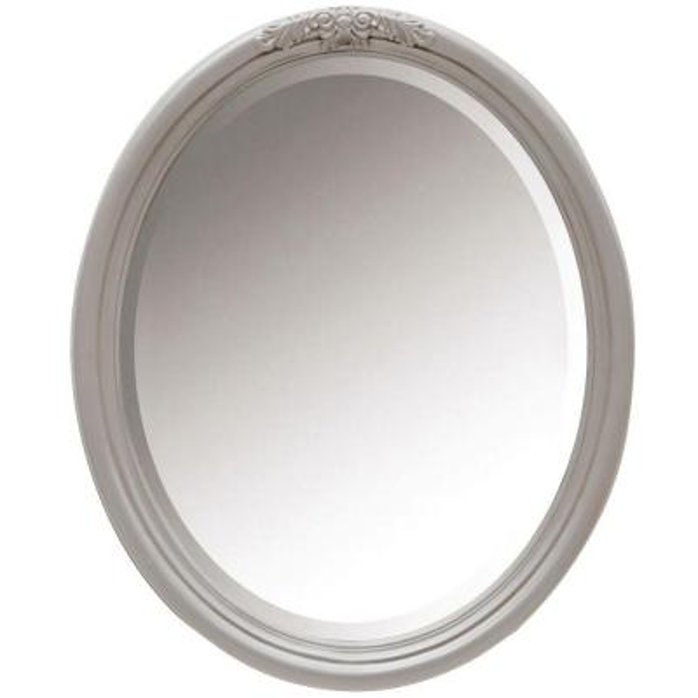 28 in. W x 34 in. H Framed Oval  Bathroom Vanity Mirror in Worn Grey