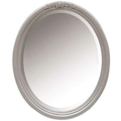 Wellington 34 in. H x 28 in. W Oval Framed Single Wall Mirror in Worn Grey