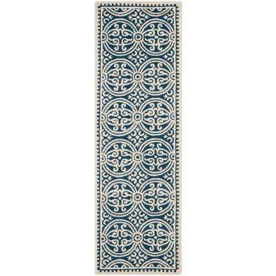 Cambridge Navy Blue/Ivory 3 ft. x 22 ft. Runner Rug