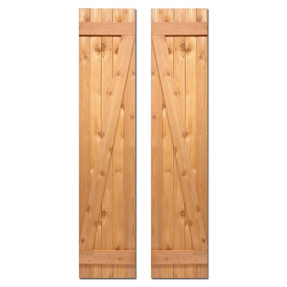 Design Craft MIllworks 15 in. x 64 in. Board-N-Batten Baton Z Shutters Pair Natural Cedar