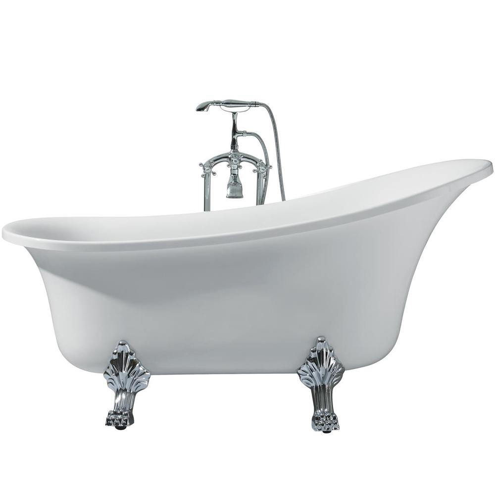 Acrylic Right Drain Oval Claw Foot Freestanding Bathtub In White