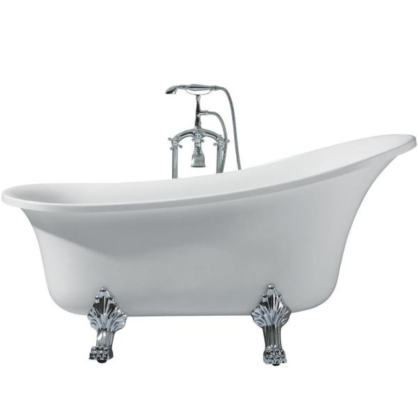 63 in. Acrylic Right Drain Oval Claw Foot Freestanding Bathtub in White