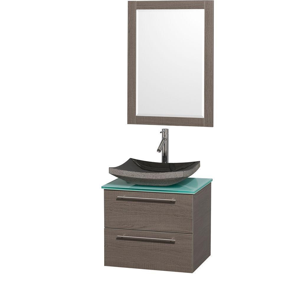 Amare 24 in. Vanity in Grey Oak with Glass Vanity Top in Aqua and Black Granite Sink