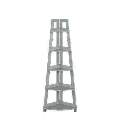 Amery 20 in. W 5-Tier Corner Ladder Shelf in Gray