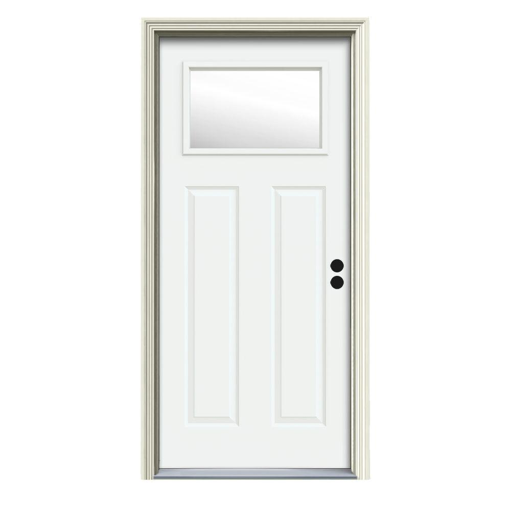 32 in. x 80 in. 1 Lite Craftsman White Painted Steel