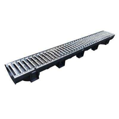 Easy Drain Compact Series Black 5.4 in. x 39.4 in. Modular Trench and Channel Drain with Galvanized Steel Grate