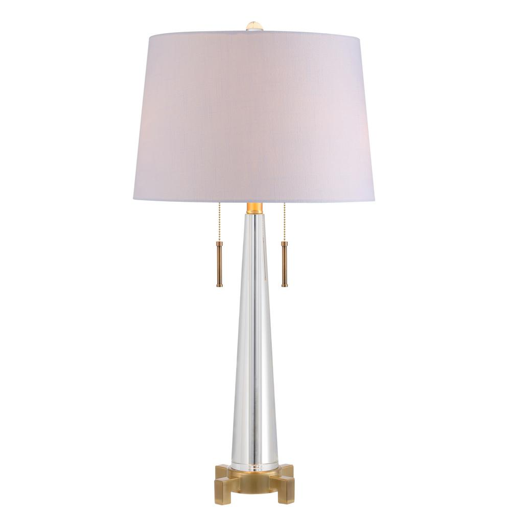 2 Light Clear/Brass Gold Crystal Table Lamp