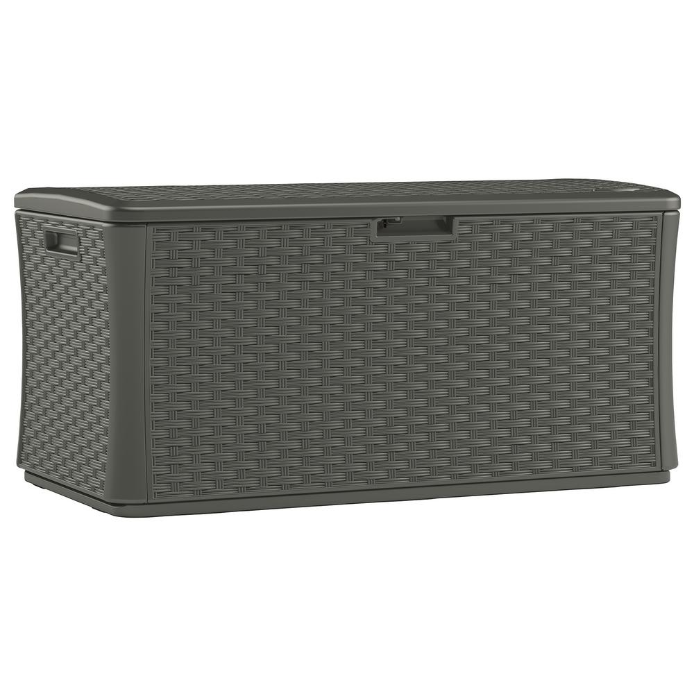 Stoney 134 Gal Resin Wicker Deck Box