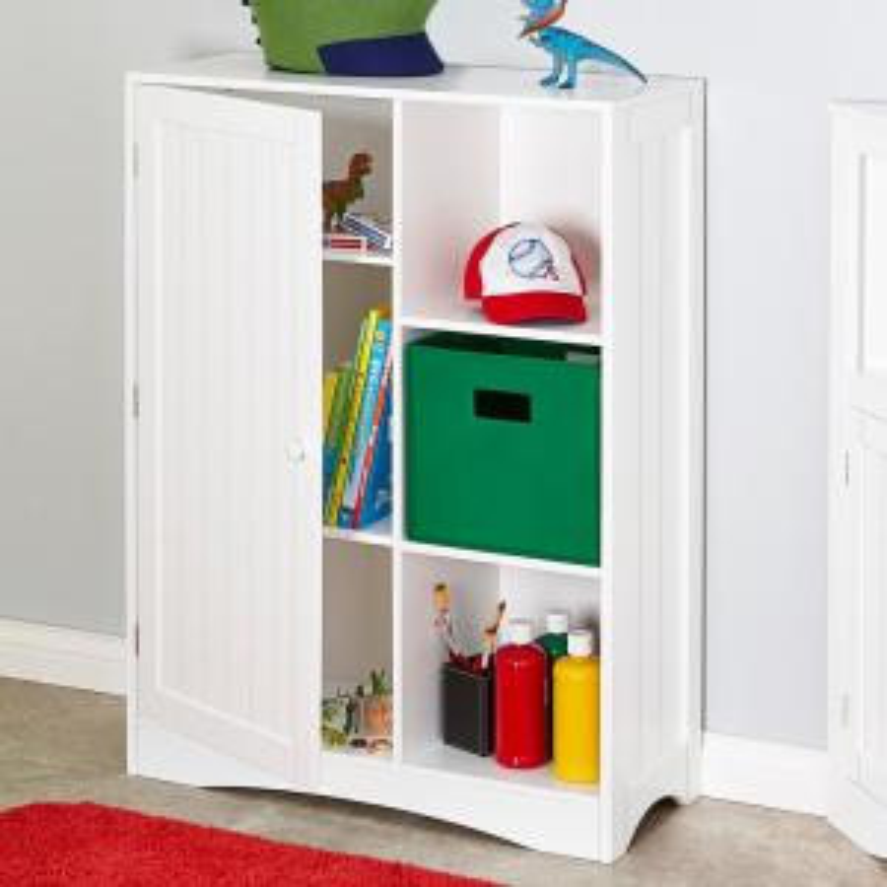 Single Door, 3 Cubby Floor Cabinet In White