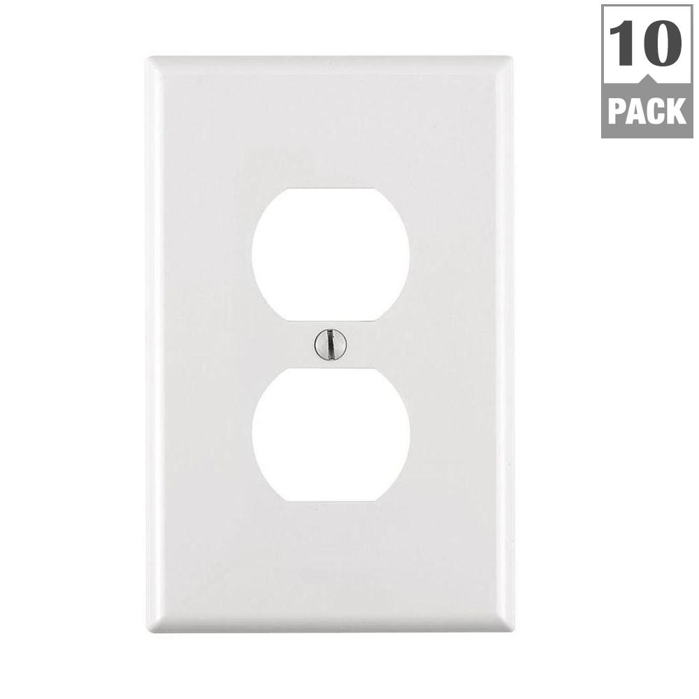 1-Gang Midway Duplex Outlet Nylon Wall Plate White (10-Pack)  sc 1 st  The Home Depot : decorative white faceplates - pezcame.com
