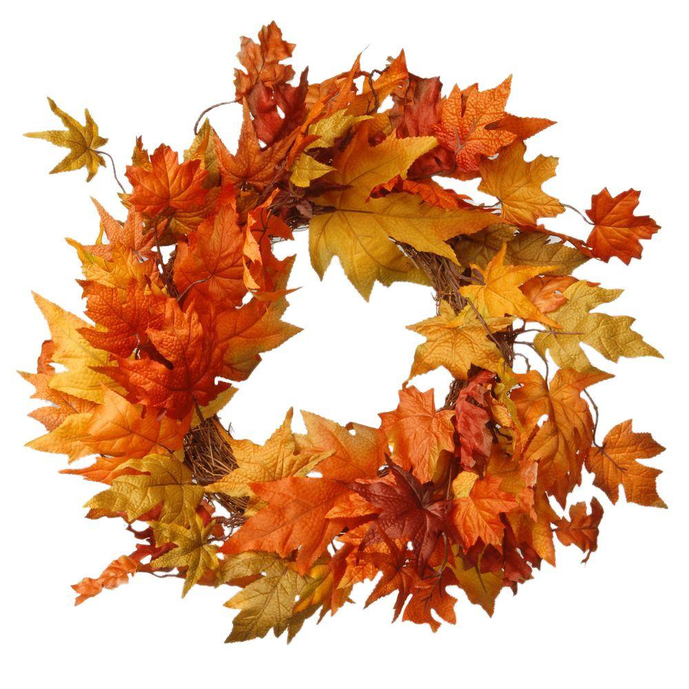 National Tree Company Harvest Accessories 24 in. Artificial Wreath with Maples