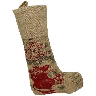 0.1 in. H x 20 in. L Jute Saint Nick Christmas Stocking with Printed Burlap Collection