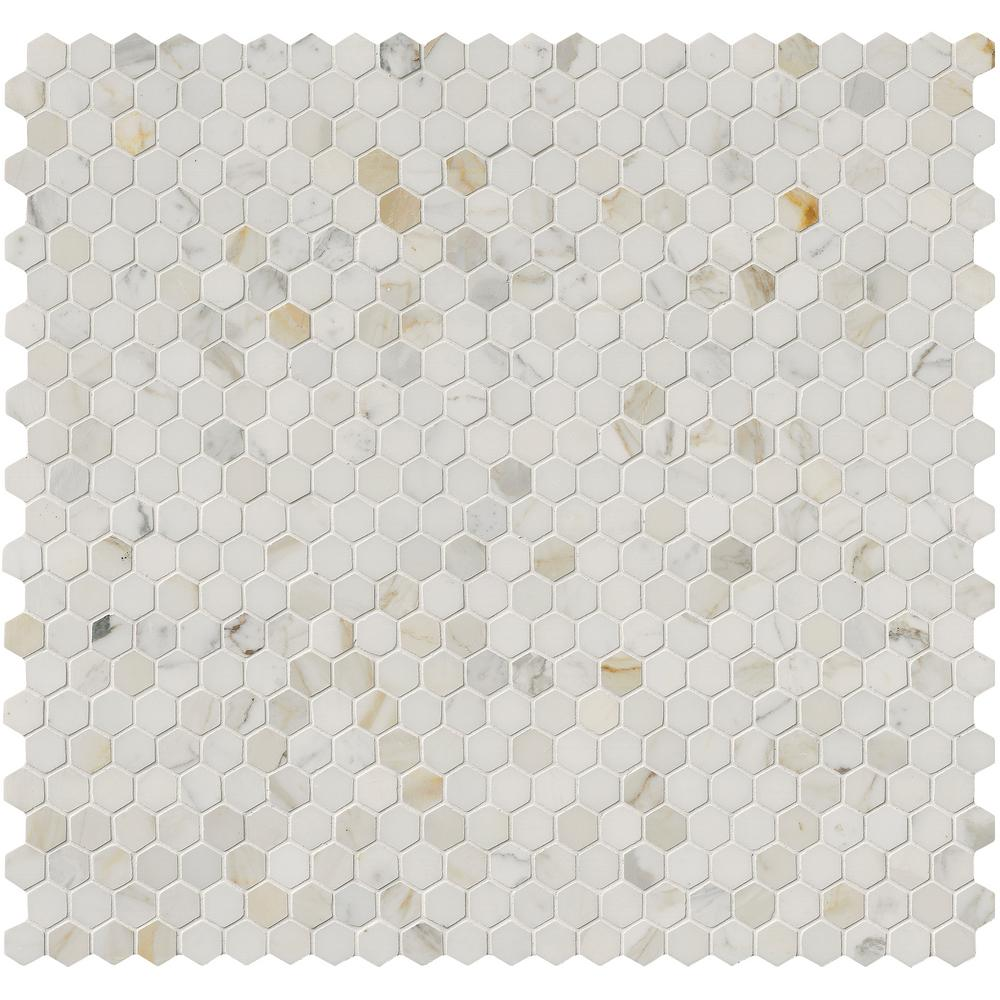 MSI Calacatta Gold Hexagon 12 in. x 12 in. x 10 mm Polished Marble Mesh-Mounted Mosaic Tile (1 sq. ft.)