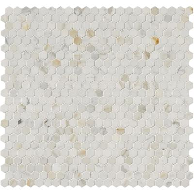 Calacatta Gold Hexagon 12 in. x 12 in. x 10 mm Polished Marble Mesh-Mounted Mosaic Tile (1 sq. ft.)