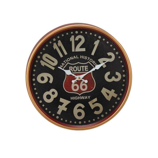 Mahogany Brown Contemporary Wall Clock with Black and White Accents