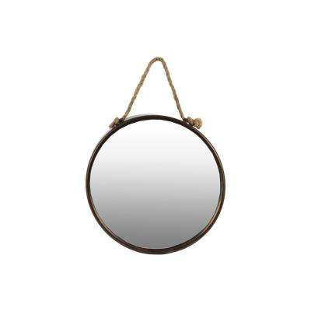 Round Bronze Tarnished Wall Mirror
