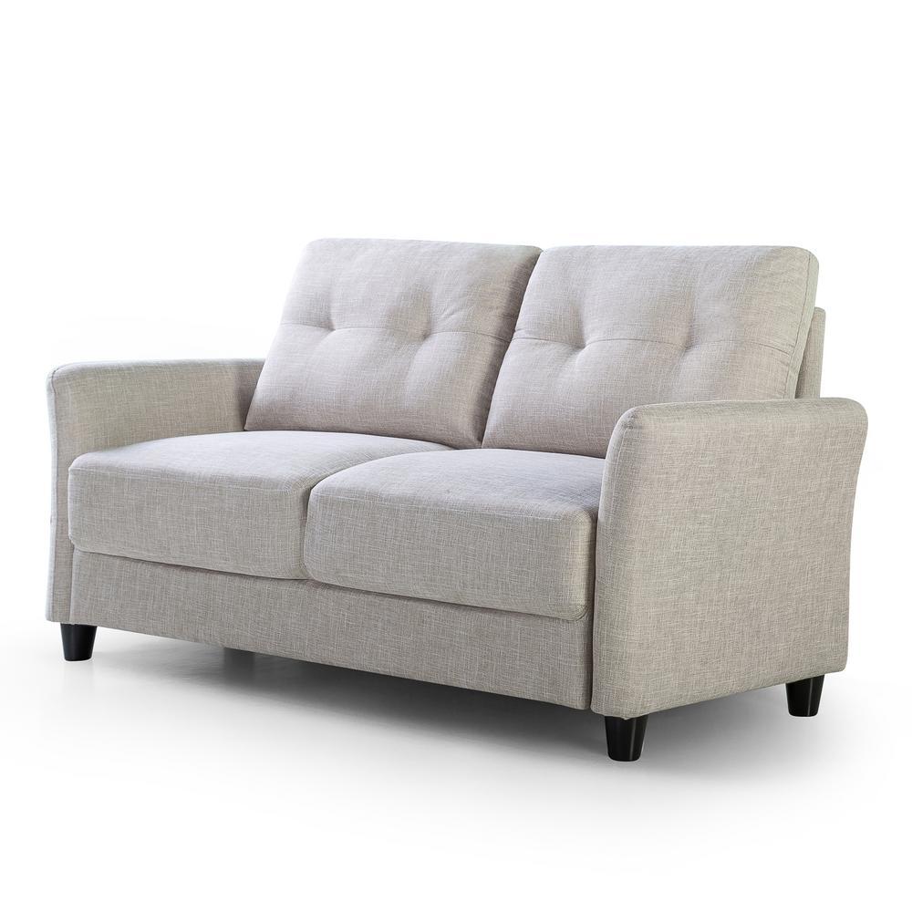 Ricardo 2-Seat Beige Upholstered Loveseat