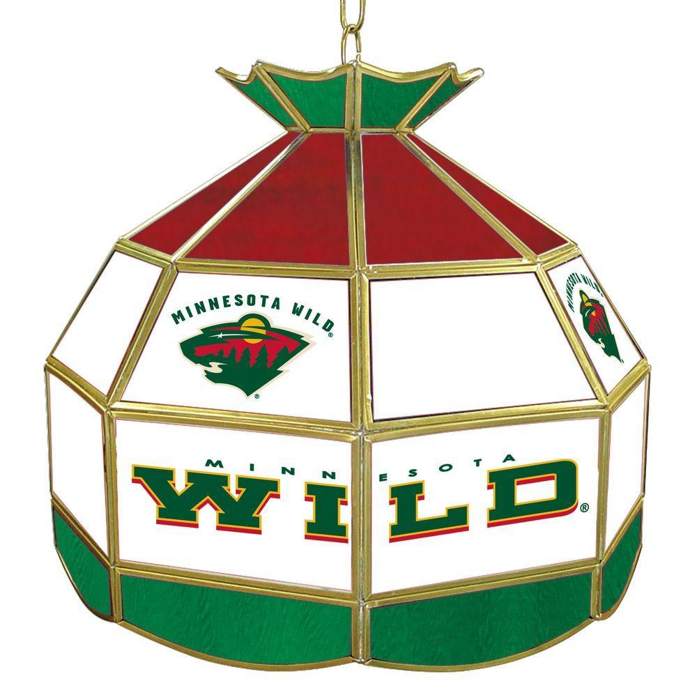 Trademark NHL Minnesota Wild 16 in. Gold Hanging Tiffany Style Billiard Lamp