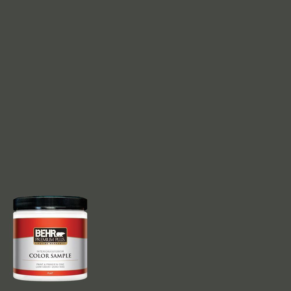 BEHR Premium Plus 8 oz. #710F-7 Black Swan Interior/Exterior Paint Sample