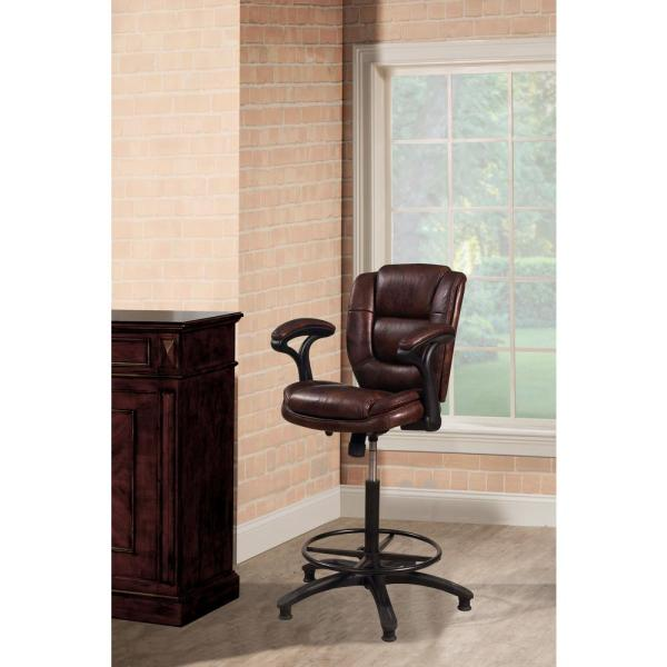 285d158a81d8a2 Dawson Adjustable Height Brown Cushioned Bar Stool. by Hillsdale Furniture