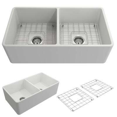 Classico Farmhouse Apron Front Fireclay 33 in. Double Bowl Kitchen Sink with Bottom Grid and Strainer in Matte White