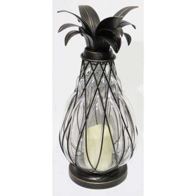 17 in. Aged Bronze Pineapple Lantern with LED Candle
